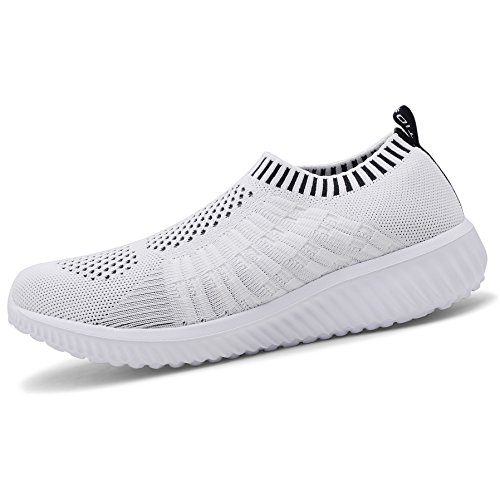 Walking Breathable Sneakers Running Mesh Women's Casual White TIOSEBON Shoes Athletic Lightweight 6701 znX08nxR