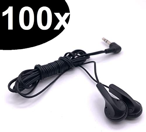 Maeline Bulk Earbuds Wholesale Headphones Lot Earphones Disposable (100 Pack, Black) from Maeline