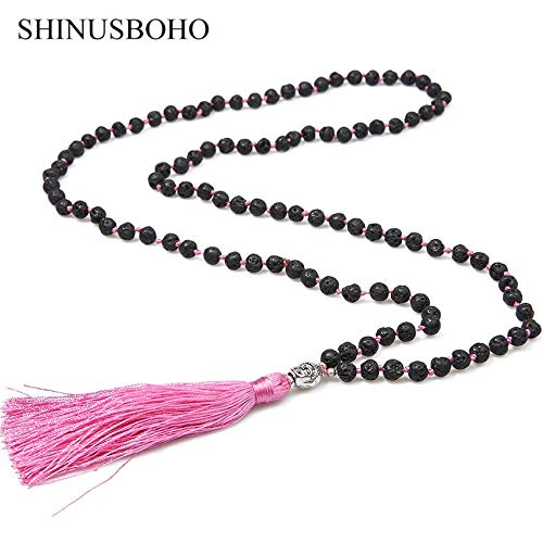 Davitu Boho 6MM Volcanic Stones Necklaces for Women Lovely Tassel Buddha Heads Pendants Necklace Handmade Knotted Neck Jewelry Metal Color: N-B0183