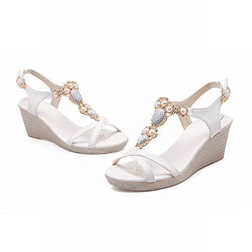 Charm Foot Womens Fashion Beaded Ankle Strap Wedge High Heel Sandals White uubH2T