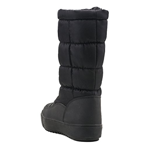 Cremallera con se Nieve Zapatos Mujer de Ancho Ajustar de Puede del El Zapato Shenji Negro H7624 Botas de Invierno 86z61wq