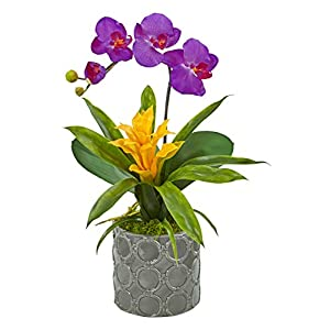 Artificial Flowers -Mini Phalaenopsis Orchid Purple and Bromeliad in Gray Vase 93