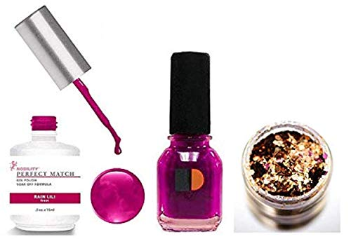 LeChat PERFECT MATCH Gel Polish & Nail Lacquer, Gel Polish with Matching Regular Nail Polish Color (with Nail Glitter Kit) LED & UV Cured Soak Off Nail Formula 2 x 0.5 oz (02 Rain Lili)