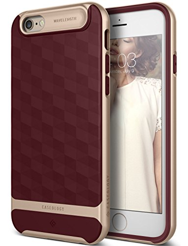 iPhone 6 Case, Caseology [Wavelength DIA] [Parallax Series] Textured Pattern Grip Case [Burgundy] [Shock Proof] for Apple iPhone 6 and iPhone 6S - Burgundy