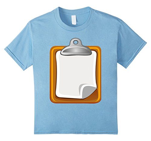 Group Office Costume Ideas (Kids Clipboard with Sheet Of Paper Office Supply Costume T-Shirt 8 Baby Blue)