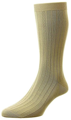 Pantherella Sea Island Cotton - Light Khaki Pembrey Sea Island Cotton Socks by Pantherella - Large