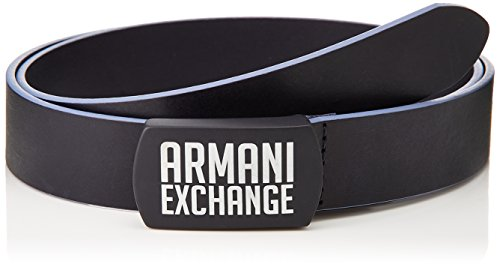 Leather Logo Plaque - Armani Exchange Men's Logo Plaque Buckle Belt, Navy, 34