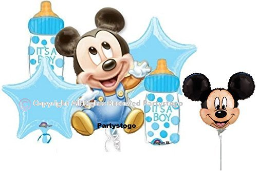 MICKEY MOUSE BABY SHOWER BALLOONS BOUQUET WITH MINI SHAPE DECORATIONS SUPPLIES (6 (Baby Mickey Mouse Baby Shower)