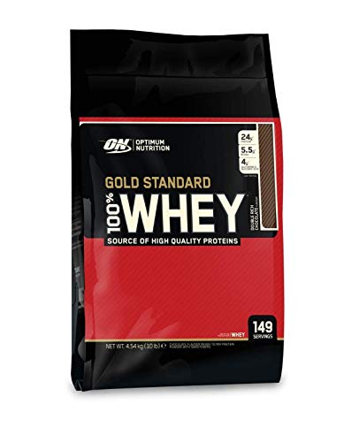 Optimum Nutrition 100% Whey Gold Standard, Double Rich Chocolate, 10 lb Bags