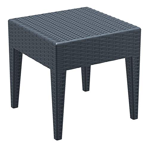 (Compamia Miami Square Resin Side Table in Dark Gray)
