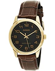 Casio Men's Black Dial Leather Band Watch - MTP-V001GL-1BUDF