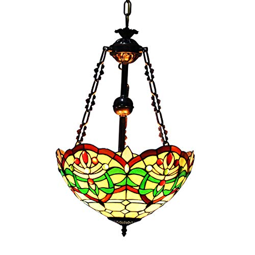 Makenier Vintage Decorative Tiffany Style Stained Glass Green Stripes Big Inverted Ceiling Pendant Lamp Fixture, 16 Inches - White Stripes Pendant Bronze