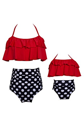 WIWIQS Summer Mother and Daughter Swimsuits High Waisted 2 Piece Swimwear (RED,XL)