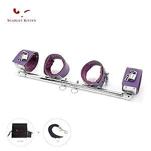 SCARLET KITTEN Spreader Bar with 4 Leather Adjustable Straps Set, Silver Purple