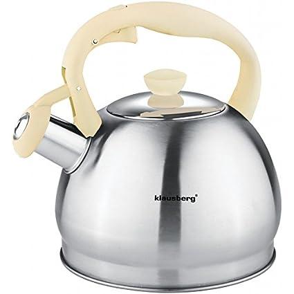 1,8 L de agua Hervidor para Whistling Kettle Tetera Tetera Hervidor de agua acero inoxidable Ivory