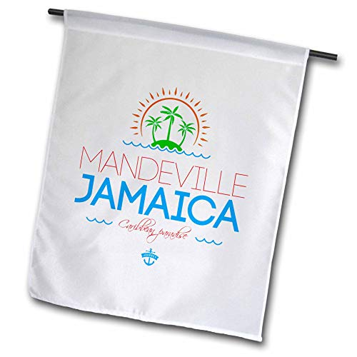 3dRose Alexis Design - Cities Jamaica - Mandeville, Jamaica City. Summer Journey and Fun - 18 x 27 inch Garden Flag (fl_313230_2) -