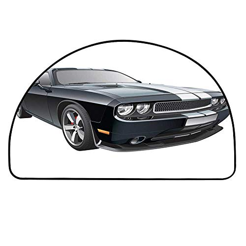 YOLIYANA Cars Semicircle Rug,Black Modern Pony Car with White Racing Stripes Coupe Motorized Sport Dragster Floor Mat,13.7