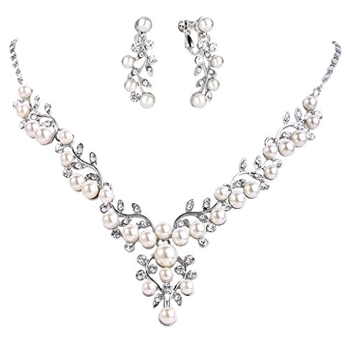 - EVER FAITH Women's Crystal Simulated Pearl Leaf Vine Necklace Clip-on Earrings Set Clear Silver-Tone