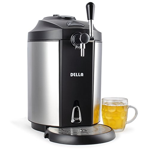 DELLA | Mini Beer Kegerator | Stainless Steel | Portable System | Micro Foam Technology | Cold Draft Tap | Pint | Glass (Beer Home Dispenser)