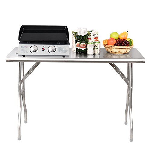 Heavy Duty Stainless Steel 48'' Rectangular Folding Table in Silver Color Will Help You Feel Comfortable Wherever You Are