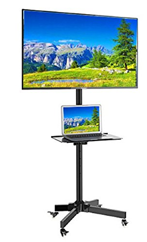 (EZM Mobile TV Cart Rolling Stand for LCD LED Plasma Flat Panel with Shelf Fits 23