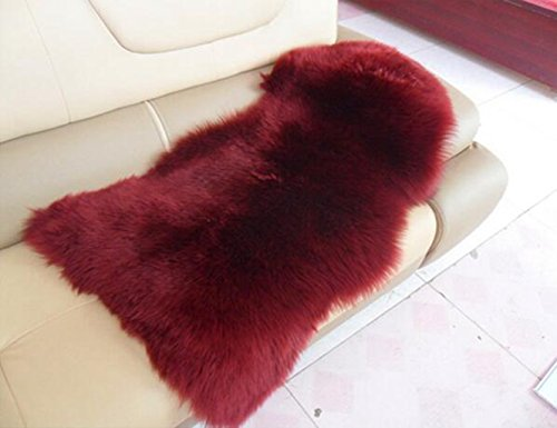 Prettybuy Genuine Australian Sheepskin Rug One Pelt Black Natural Fur, Single, Approx. 2ft. x 3ft.Burgundy