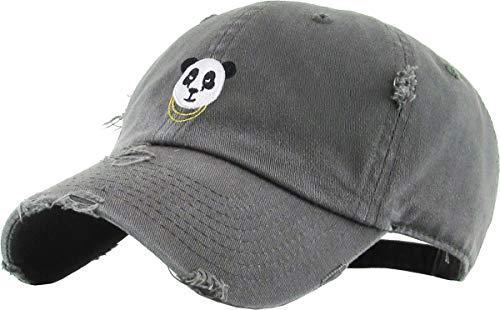 KBSV-056 DGY Panda Vintage Distressed Dad Hat Baseball Cap Polo Style