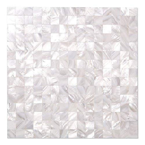 Diflart White Seamless Oyster Mother of Pearl Shell Mosaic Tile for Bathroom Kitchen Backsplash, 10 Sheets/Box (Square, Pearl Shell)