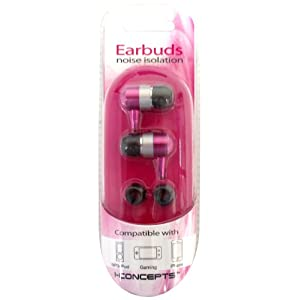 iConcepts Noise Isolation Earbuds for MP3, Gaming or iPhone Pink
