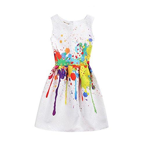 - Girls Dress Kids Sleeveless Casual Cotton Sundress Summer Girl Swing Party Dresses Size 6-11 Years