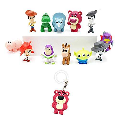 Toy Story Figures - Premium Birthday Supply Figurines - Pack of 12 ToyStory Cake Toppers - Mini Party Favors + Lotso Keychain Action Figures for Kids & Adults
