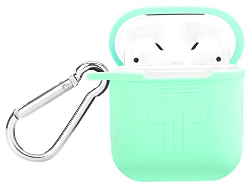 HOKTI zz65465456 AirPods Case, Ear Hook, Silicone Protective Case with AirPods Hooks for Apple Charging Case Cover, Shock Proof Protective Cover, Mint Green ()