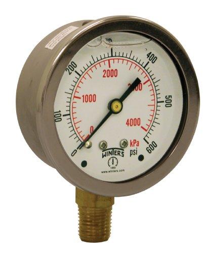 600 Psi Pressure Gauge - Winters PFQ Series Stainless Steel 304 Dual Scale Liquid Filled Pressure Gauge with Brass Internals, 0-600 psi/kpa,2-1/2