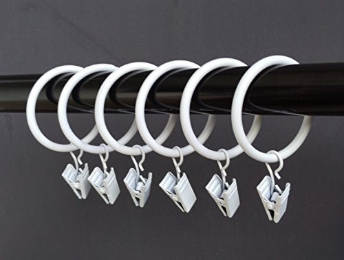 (1.5')1.5 Inches Smooth Metal Curtain Rings with Clips (20, white)