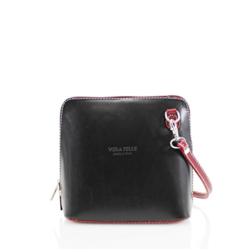 LeahWard? ITALY GENUINE LEATHER CROSS BODY SHOULDER SMALL BAGS 011 BLACK/RED H16cm x W18cm x D8cm