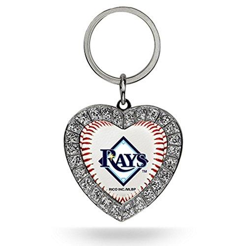 MLB Tampa Bay Rays Rhinestone Heart Keychain