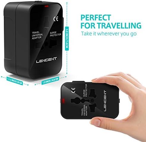 Adaptador de Viaje Universal, LENCENT Enchufe Adaptador Internacional inglés/eeuu/EU/AUS con 2 Puertos USB para más de 150 Países para Ordenadores Portátiles, Teléfonos, Tabletas, Cámara y más.[Clase de eficiencia energética A+++]