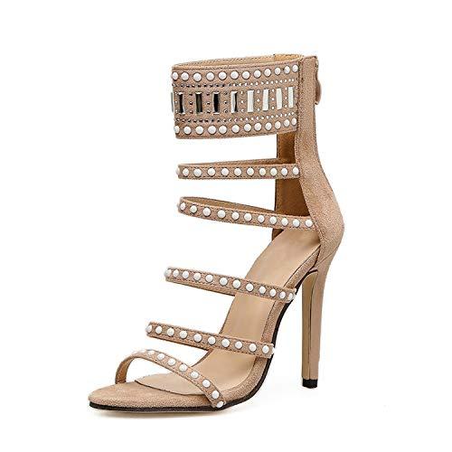 - High Heel Sandals Women Sandals Sexy Open Toe High Heels Pump Boots Crystal Sandals,Beige,10
