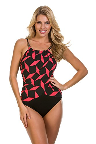 Magicsuit Women's Gridlock High Neck Lisa One Piece Swimsuit, Flamingo, 12