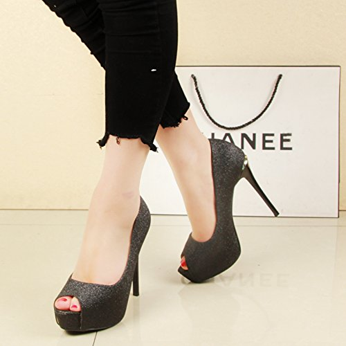 SFSYDDY Chaussures pour Femmes 12 Cm De Super Talons Hauts Les Boîtes De Nuit Fines Bouches Talons Les Bouches Les Chaussures pour Femmes du Printemps Et De L'Été Les Chaussures. black RNbZ1lZicu