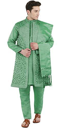 SKAVIJ Men's Embroidered Kurta Pajama, Jacket, and Scarf Set (Large, Green)