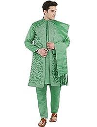 SKAVIJ Men's Embroidered Kurta Pajama Jacket and Stole Set (Green, X-Large)