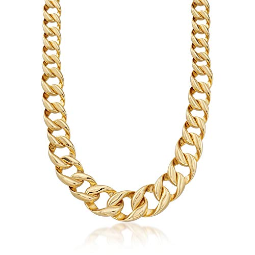 Link Graduated Curb (Ross-Simons Italian Andiamo 14kt Yellow Gold Graduated Curb-Link Necklace)
