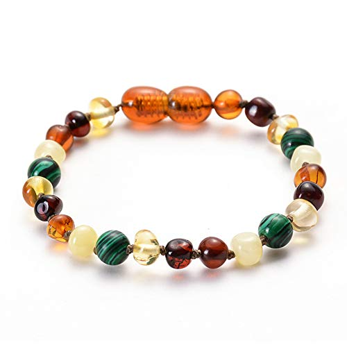 hvuyal Baltic Amber Teething Bracelet for Baby - Unisex Handmade Natural Soothing, Teething Pain Relief with Turquoise - Plastic Screw Clasp Kids Jewelry (Amber Teething Bracelet-Malachite)