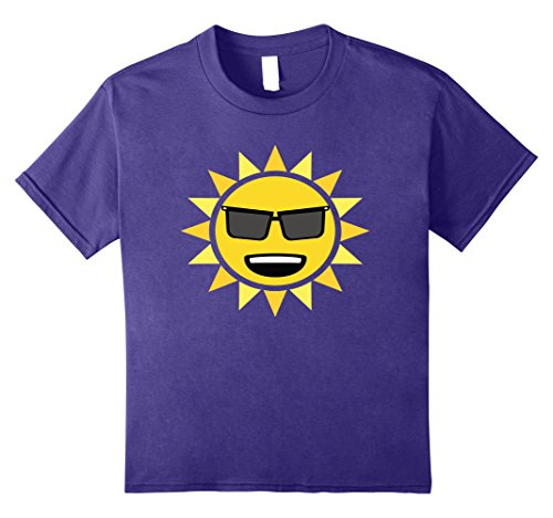 Kids T-Shirt Funny Emoticon Sunny Sun Laughing Smile Sunglasses 8 Purple