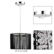 Gracelove Modern Black Brushed Crystal Chandeliers with 1 Light LED Pendant Lamp Ceiling Fixture for Dining Room, Bedroom,Living Room