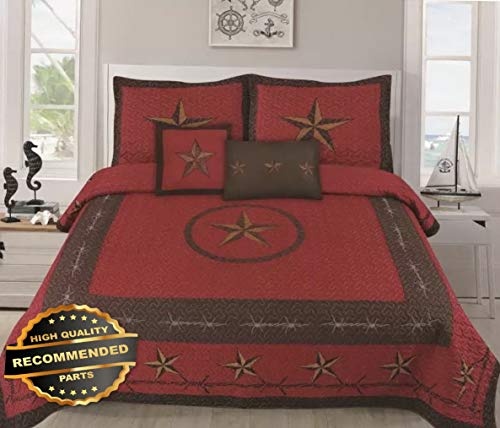 (Werrox 5 Piece Texas Rustic Western Design Star Barbed Wire Quilt Bedspread Full/Queen Size | Quilt Style QLTR-291265409)