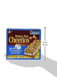 General Mills, Honey Nut Cheerios, Milk \'n Cereal Bars, 6-Count, 8.5oz Box (Pack of 4)