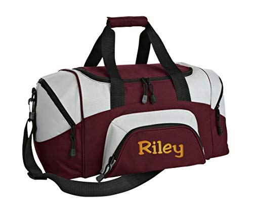 All about me company Small Sport Duffel Bag | Personalized Monogram/Name Gym Bag (Maroon/Grey) ()