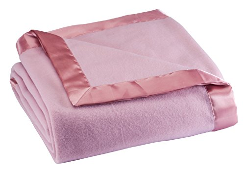 Fleece Blanket with Satin Trim, Full Queen Size, Pink